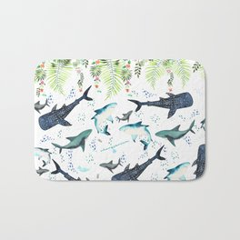 floral shark pattern Bath Mat