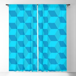 Classic cube/hexagon pattern in Blue Blackout Curtain