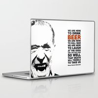 bukowski Laptop & iPad Skins featuring beer&bukowski by radiozimbra