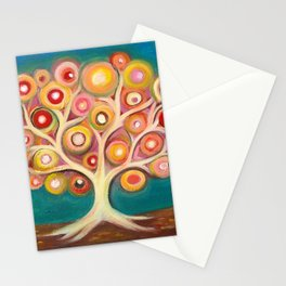 Tree of life with colorful abstract circles Stationery Cards