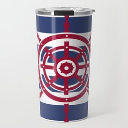 AFE Nautical Red Helm Wheel Travel Mug