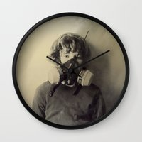 sam smith Wall Clocks featuring Sam by Rachel Wisniewski