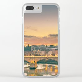 Cityscape Sunset Scene at Tiber River, Rome, Italy Clear iPhone Case