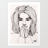 bjork Art Prints featuring Bjork by Paul Nelson-Esch Art
