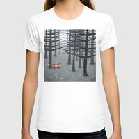 gray T-shirts featuring The Fox and the Forest by Nic Squirrell