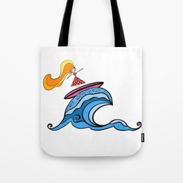 Polka Dot Surfer Girl Tote Bag