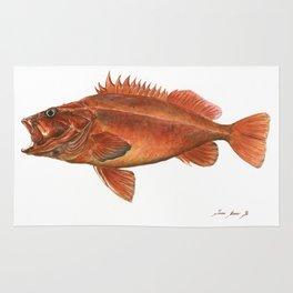 Vermilion Rockfish - Fish artwork watercolor Rug