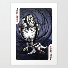 Owl Deck: Red Joker Art Print