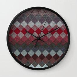 black white grey silver red geometric pattern Wall Clock