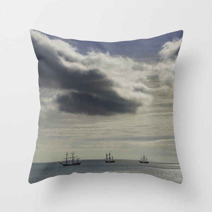 These three ships, Dublin Ireland Throw Pillow