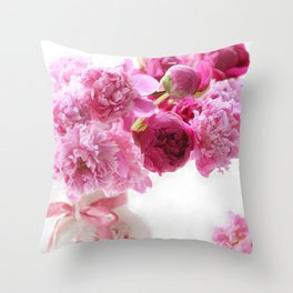 Romantic Pink and Red Peonies Throw Pillow