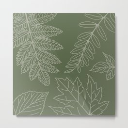 Green Leaves – Hand Drawn Line Art Illustration Metal Print
