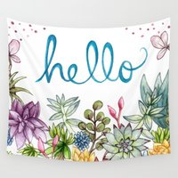 spring Wall Tapestries featuring hello spring by Brooke Weeber