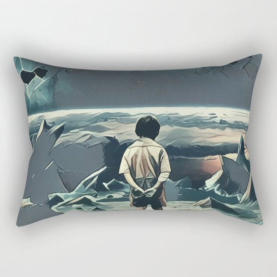 Lonely boy in cosmos Rectangular Pillow