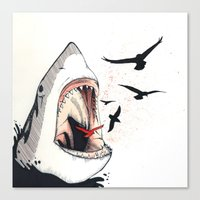 shark Canvas Prints featuring shark by SOF.T