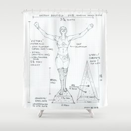 Victory Drawing, Transitions through Triathlon Shower Curtain