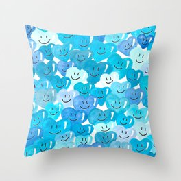 Happy hearts in blue. Throw Pillow