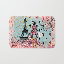 Fashion girl in Paris- Shopping at the EiffelTower Bath Mat