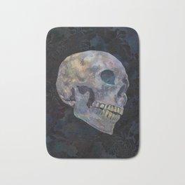 Gothic Skull Art Print | Halloween Home Décor Watercolor Skull Illustration - Midnight Navy Charcoal Bath Mat