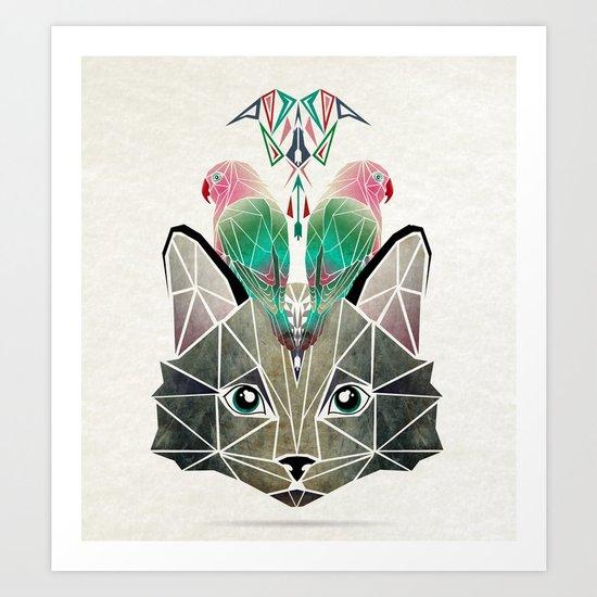 cats loves birds Art Print
