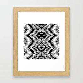 Black White Diamond Crochet Pattern Framed Art Print