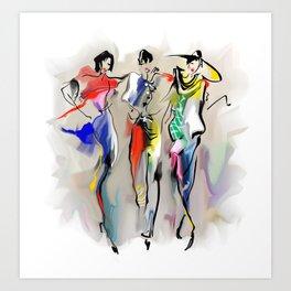Fashion girls walk down the street Art Print