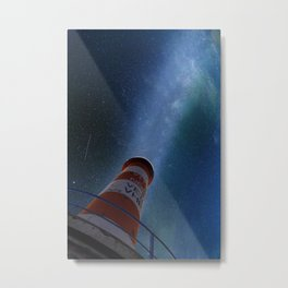 Lighthouse under starry sky Metal Print