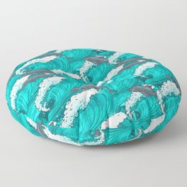 dolphins in the waves pattern Floor Pillow