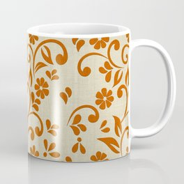 """Orange Flowers & Natural Texture"" Coffee Mug"