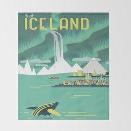 Vintage Mid Century Modern Iceland Scandinavian Travel Poster Ocean Whale Winter Village Throw Blanket