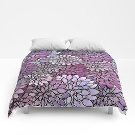 Stain Glass Floral Abstract - Purple-Lavender Comforters