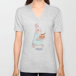 Carrot Cake Bunny Unisex V-Neck