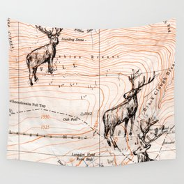 Stags walking the map, lighter Wall Tapestry