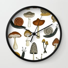 mushrooms and snails Wall Clock