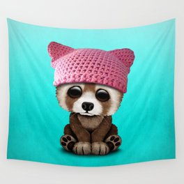 Cute Baby Red Panda Wearing Pussy Hat Wall Tapestry