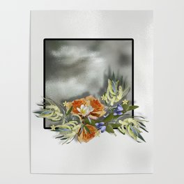Beautiful bouquet of flowers on shiny background Poster