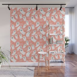 Friendly Ghosts in Pink Wall Mural