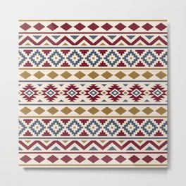 Aztec Essence Ptn III Red Blue Gold Cream Metal Print