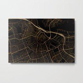Black and gold Amsterdam map Metal Print