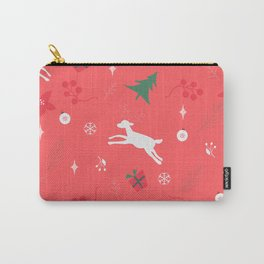 Seamless pattern with ornaments, deer, snowflakes, spruce branches,poinsettia and berries on a red background.  Carry-All Pouch