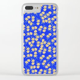 Yellow Lilies on Cornflower Blue Background Clear iPhone Case