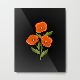 three red poppies on the black Metal Print