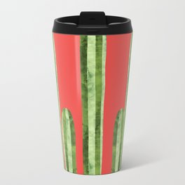 Watercolor of cacti on red background Travel Mug