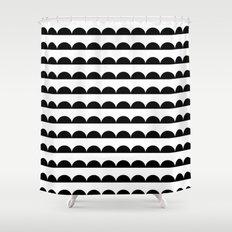 Scallop - Black and white minimal design print hipster urban city brooklyn socal san francisco bay p Shower Curtain