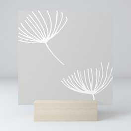 Winter Floral Grey Mini Art Print