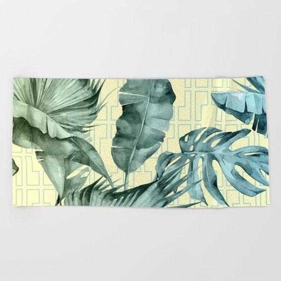 Simply Island Mod Palm Leaves on Pale Yellow Beach Towel