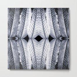 Fresh silver sumac leaves pattern surreal symmetrical kaleidoscope Metal Print