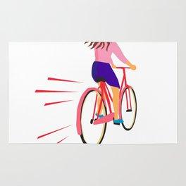 Girl Riding Vintage Bicycle Retro Rug