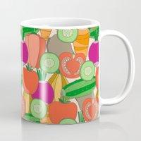 vegetables Mugs featuring Vegetables by Valendji