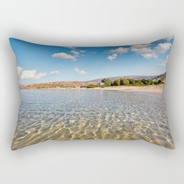 Looking the coast through the sea of St. Peter in Andros, Greece Rectangular Pillow